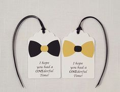 Gold & Black Little Man Bowtie Party Favor Tags: I hope you had a ONEderful Time!, Set of 12, First Birthday Party Goodie Bag Tag by ImagineCelebrations on Etsy https://www.etsy.com/listing/264476451/gold-black-little-man-bowtie-party-favor