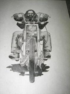 S - DAVID MANN EASYRIDERS DRAWING (pencil)