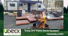 It's the perfect Easy DIY Patio Deck System for RV's and Campers! #rvliving #rvremodel #rvdecoratingideas #rvs #motorhome #motorhomeliving #motorhomeremodel #campertrailers #camperremodel #campermakeover #campers #camperstrailers #campersliving #campersremodeled