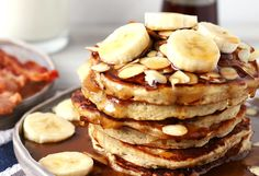 These banana almond pancakes are perfect for weekend breakfasts! Forget about banana bread - use your overripe bananas to make this easy pancake recipe.