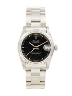 Rolex Oyster Perpetual Datejust Stainless Steel & Black Dial Watch, 31mm