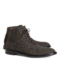 Harris Tweed boots. Made from wool with leather lining and leather soles. Tone-on-tone stitching. Made in Italy.<br/><br/>Please size down one full size when ordering.