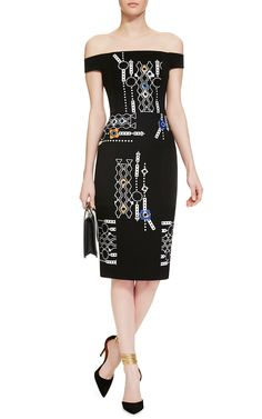 Midi Off the Shoulder Arcade Dress by Peter Pilotto Now Available on Moda…