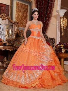 Pretty Orange Red Ball Gown Sweetheart Quinceanera Dress with Appliques