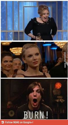 When Adele won the Golden Globe for Best Soundtrack! That face is sooooo funny!!