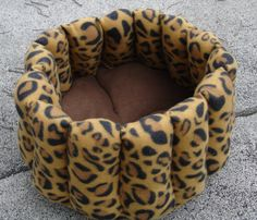 Leopard pet bed in brown and black  fleece small dog by firesky7, $25.00
