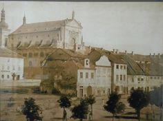 Karlovo n. ještě se špalíčkem domů zbouranými v roce 1863. Prague, Czech Republic, Mansions, House Styles, Painting, Manor Houses, Villas, Painting Art, Mansion