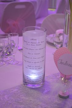 Photophore menu with led - Decoration For Home Led, Barbie Dolls, Glass Vase, Table Decorations, Party, Wedding, Pilot, Tables, Events