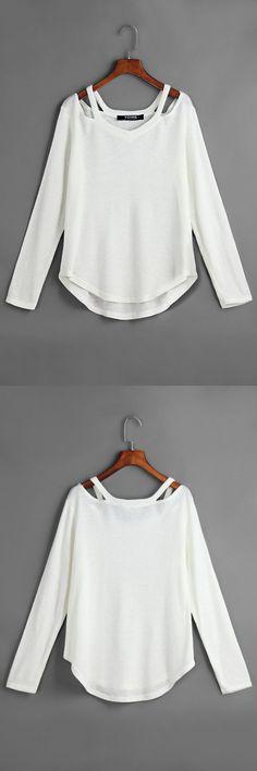 White V-neck Irregular Hem Causal T-shirt