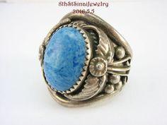 Estate Jeff Largo Navajo Sterling Silver 925 Sodalite Ring Size 11.5