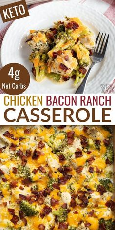 This easy low-carb chicken bacon ranch casserole comes together quickly. It's perfect for a hearty weeknight keto dinner that's super satisfying and full of flavor! #BestLowCarbMeals Low Carb Chicken Recipes, Healthy Low Carb Recipes, Low Carb Dinner Recipes, Keto Dinner, Diet Recipes, Cooking Recipes, Dinner Healthy, Low Carb Chicken Dinners, Keto Recipes With Bacon