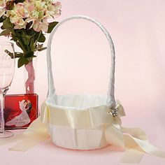 Elegant Flower Basket In White Satin With Ribbon Bow (More Colors)