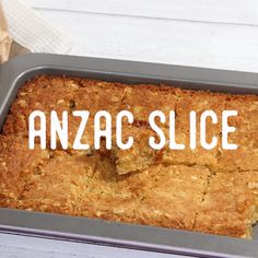 How to make ANZAC Slice Very nice and soft if you don't like crunchy and hard ANZAC biscuts! Tray Bake Recipes, Baking Recipes, Cake Recipes, Dessert Recipes, Easy Anzac Biscuits, Easy Slice, Coconut Slice, Biscuit Recipe, Candy