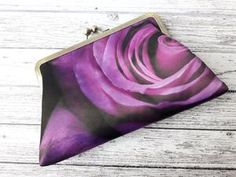 Purple Rose Satin Clutch Bag Purse Wedding Birthday Gift for Her Floral Clutch Bags, Floral Clutches, Handmade Clutch, Purple Roses, Custom Bags, Birthday Gifts For Her, Purses And Bags, Coin Purse, Vintage Fashion