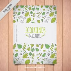Eco friend magazine with hand drawn leaves Free Vector