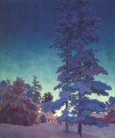 Paysage de nuit d hiver [étude], huile de Maxfield Parrish (1870-1966, United States)