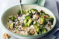 reis mit brokkoli und champignons