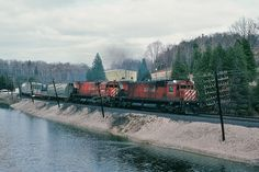 Under load, the ALCO design MLW M series are pure music to the ALCO fan ear. CP Rail Extra 4568 west powered by two M630 units 4568 - 4565 working the Galt Subdivison westbound Campbellville (mile 37.8) grade. April 1980
