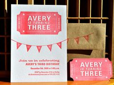 circus party Real tickets and fabric bunting. Birthday party for Brooklyn Circus Party Invitations, Art Party Favors, Birthday Invitations, Invites, Circus Birthday, Third Birthday, Birthday Ideas, Vintage Circus Party, Letterpress Invitations