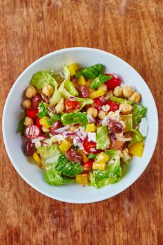 Could use chopped veggie mix from TJ's Recipe: Chopped Chickpea Salad — Quick and Easy Vegetarian Dinners