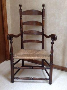 18th Century New England Ladderback Armchair New Hampshire Or Massachusetts AAFA