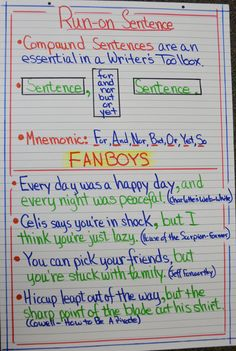 Writing mini lesson 4 run on sentences anchor charts sentences run on sentences would want a little simpler my kiddos ccuart Image collections