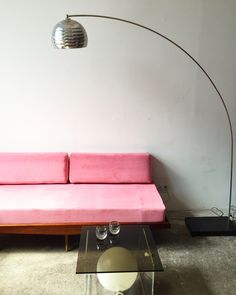 Vintage Mid Century Daybed with Pink Velvet  —