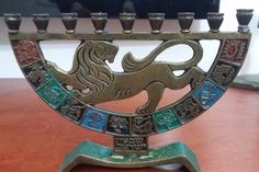 1967 Antique Jewish Menorah Lion Bronze Decorated With 12 Tribes of Israel
