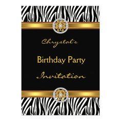 Invitation Birthday Party Animal Zebra Gold Jewel Invitation
