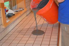 Self Leveling concrete for DIY concrete counters. Get rid of ugly tile with an inexpensive *granite* look!