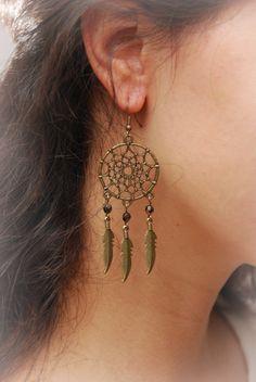 Dream Catcher beads earrings boho earrings hippie par Estibela