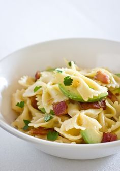 Pasta with Avocados, Bacon and Parmesan - how could this be anything but fantastic?!  Crispy bacon, avocado slices, Parmesan, and even a splash of lime all quickly combine into a flavorful, simple dinner.  Yum!!