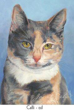 5x7 Custom Cat Portrait Watercolor or Oil Pet Painting by JanetZeh, $95.00