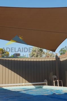 A custom-made pool sail shade using Rainbow Shade Z16. With a very effective UVE ranking, this sail in Cinnamon has  94.4% UVR and 91.5% shade it's a perfect addition to your pool for keeping cool in the Adelaide heat. So enjoy some extra time in the pool with the kids without having to worry about sunburn.