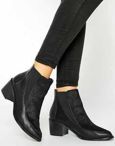 REN Leather Mix Ankle Boots - ASOS
