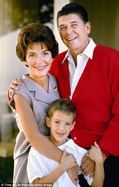 Ronald Reagan with His wife Nancy and son Ron Jr
