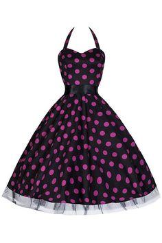 Black and Purple Polka Dot Rockabilly 50s Swing Prom Pin-Up Dress