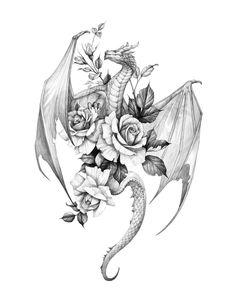 Future Tattoos, New Tattoos, Body Art Tattoos, Tattoo Drawings, Small Tattoos, Tatoos, Dragon Tattoo For Women, Dragon Tattoo Designs, Tattoos For Women