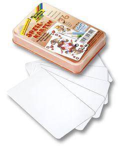 Spielkarten zum Selbergestalten für das eigene Kartenset oder sogar das eigene Spiel. Mehr Informationen gibt es unter http://www.folia.de/index.php?id=140