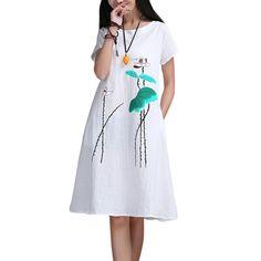 Женское длинное хлопково-льняное платье ...