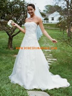 David's robe sans bretelle A-line broderie robe de mariée organza 2012