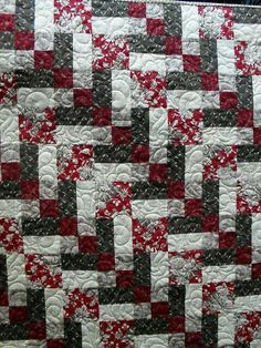 Patchwork simple enough 2 reds, 2 blacks,  one solid. 2 4 patches, w/ rail= 1 square, 2 large sqs w/ rail is 2nd! Easy peasy!