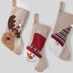 set 3 calcetines navideños :: especial navidad Christmas Rock, Christmas Items, Felt Christmas, Christmas Stockings, Christmas Crafts, Felt Stocking, Christmas Stocking Holders, Holiday Tables, Merry Xmas
