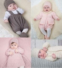 Layette Knitting patterns - Baby Layettes Knit Book   Includes 6 layette sets, plus a combination hat, blanket, boots, cardigan or dress, pants and collar.