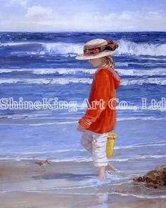 handgemaakte prachtige strand kinderen olieverf op canvans Child142