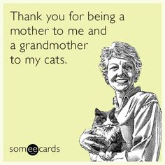 Thank you for being a mother to me and a grandmother to my cats. | Mother's Day Ecard