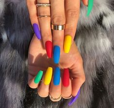 Pretty Multicolored Nail Art Designs For Spring and Summer 2019 rainbow nails, colorful nail art design, French manicure, Multicolored Nail Art Designs Best Acrylic Nails, Matte Nails, My Nails, Acrylic Nails For Summer Coffin, Bright Acrylic Nails, Glitter Nails, Acrylic Nail Designs For Summer, Summer Stiletto Nails, Coffin Nails Designs Summer