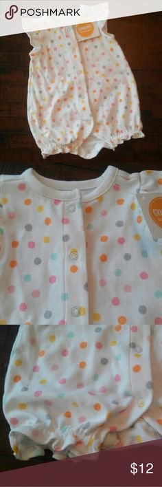 Gymboree Baby Girl One Piece Outfit Colorful polka dot button up one piece with ruffled legs Gymboree One Pieces Bodysuits