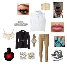 """""""A Day at School**"""" by jazzydesigns ❤ liked on Polyvore featuring beauty, Dondup, KIMEM, Versace, Converse, Christian Dior, FOSSIL, Marc by Marc Jacobs and Nine West"""
