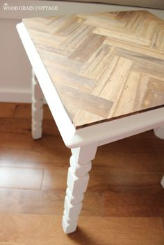 Herringbone Side Table Makeover | The Wood Grain Cottage  For coffee table top?